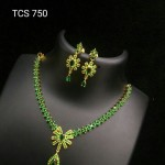 Gold Plated Green Stone Necklace Set from Temple Collections