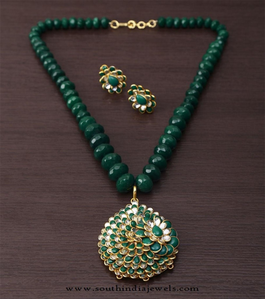 Green Beaded Kundan Necklace set