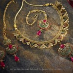 Gold Stone Necklace Set from Anjaneya Jewellery