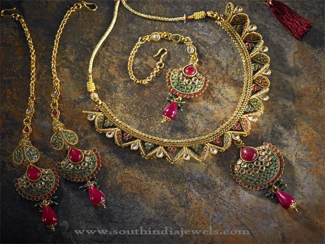 Ruby Necklace Set from Anjaneya Jewellery