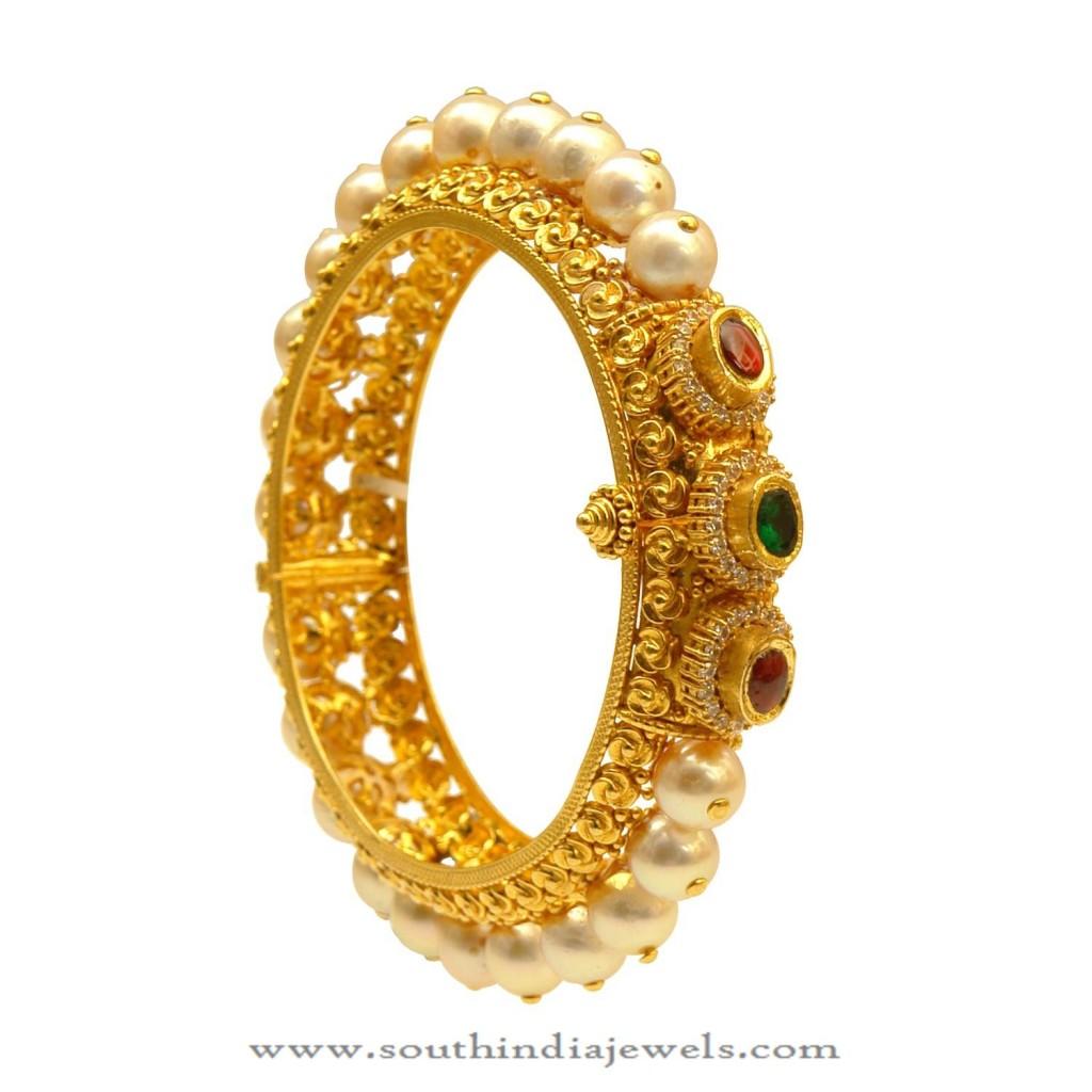 Latest Gold Pearl Bangle Design