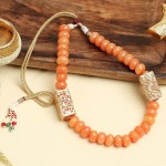 Short Orange Beaded Necklace