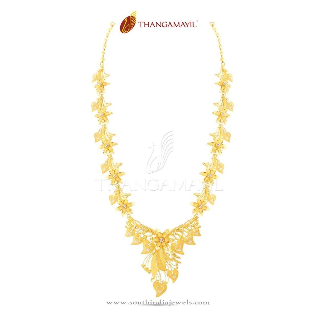 22K Gold Indian Floral Necklace Design