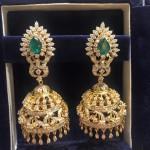 Bridal Diamond Jhumka with Emeralds