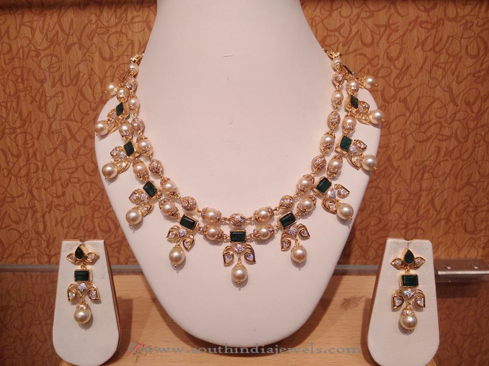 22K Gold Pearl Necklace Set from Naj