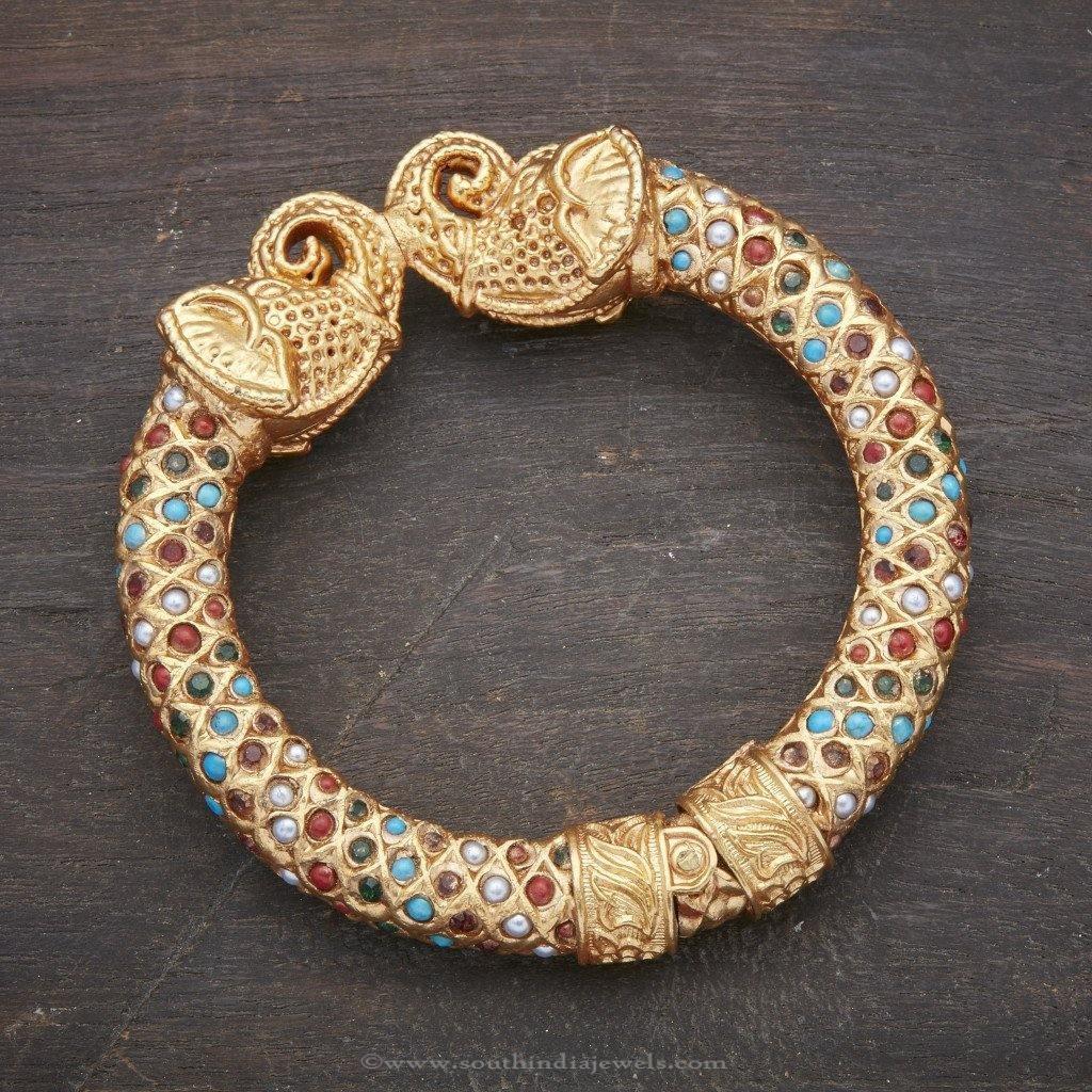Gold Plated Multi Color Kundan Kada Bangle