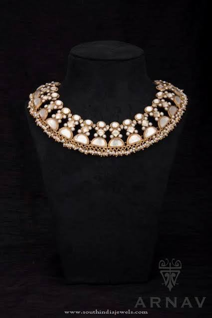 Gold Polish Pearl Choker Necklace from Arnav