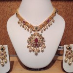 Gold Short Stone Necklace with Earrings