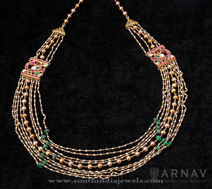 Indian Gold Necklace With Beads