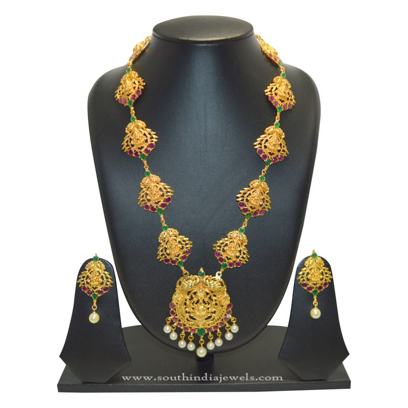 Long Temple Lakshmi Necklace Set from SFJ