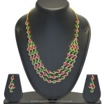 Multilayer Imitation Ruby Emerald Necklace Set with Earrings