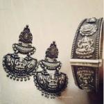 Pure Silver Lakshmi Chandbali Earrings & Bracelet