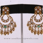 22K Gold Chandbalis with White Stones