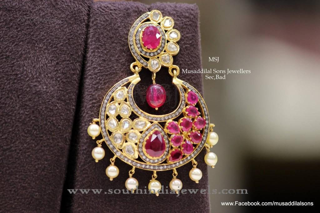 22K Gold Ruby Chandbali Earrings Design