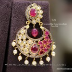 22K Gold Ruby Chandbali Earrings Design
