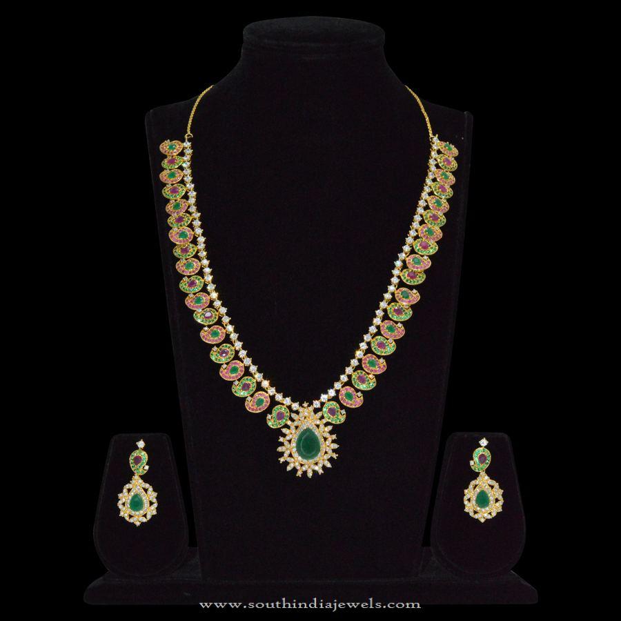 1 Gram Gold Ruby Emerald Necklace Sets