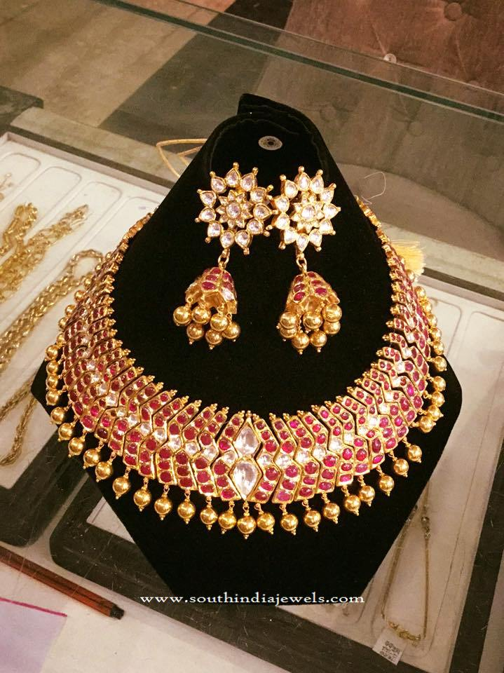 Antique Ruby Choker with Jhumka