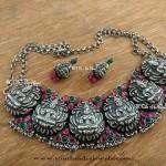 Antique Silver Temple Lakshmi Choker