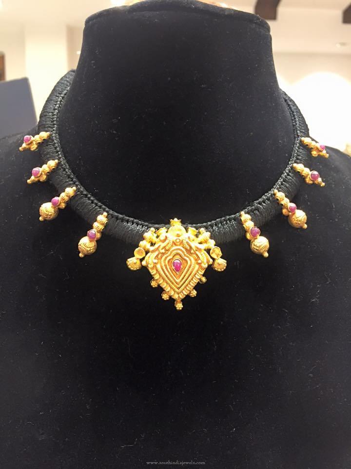 Black Dori Gold Necklace Design