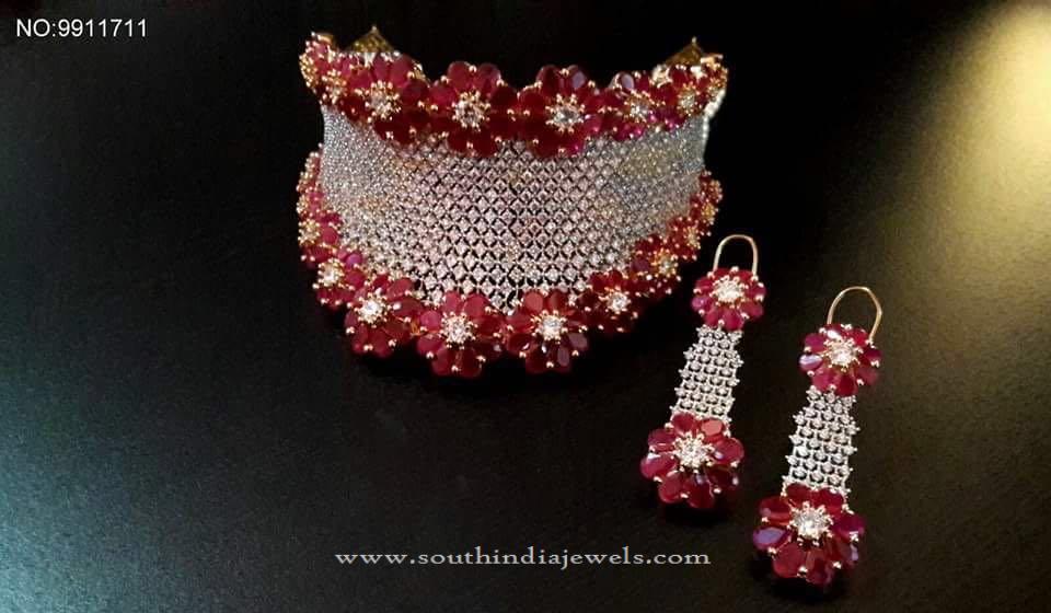 Designer One Gram Gold Ruby Choker with Earrings
