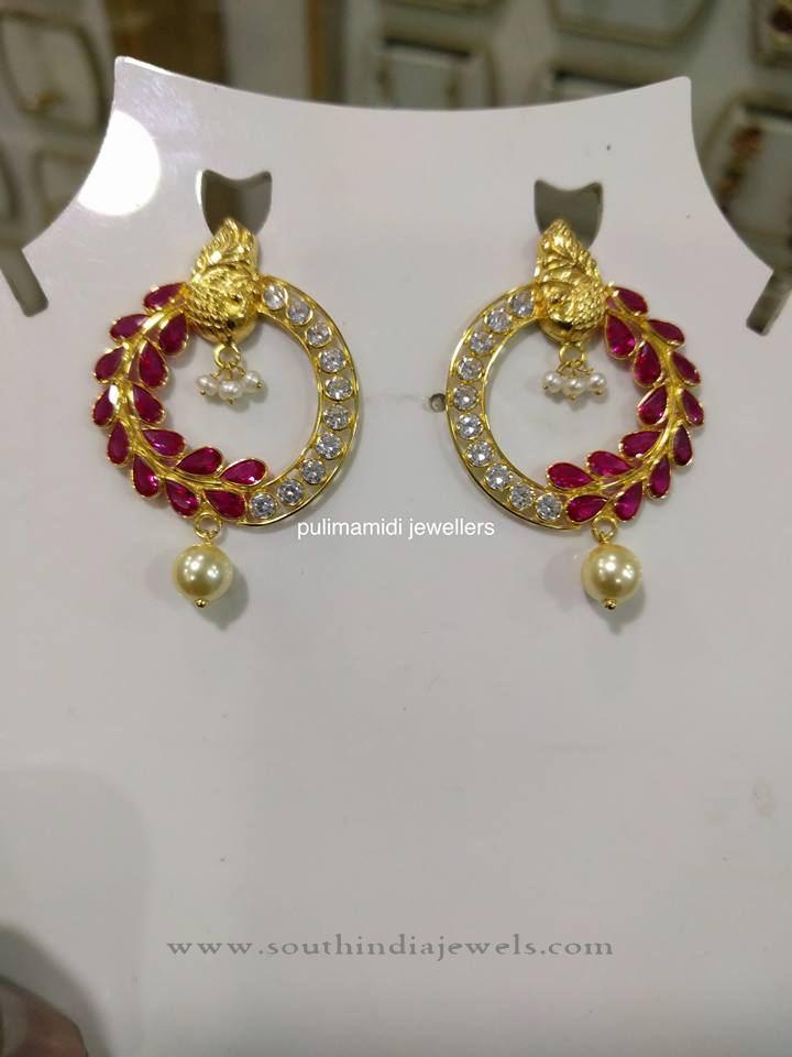 Gold Designer Ruby Earrings