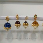 Gold Jhumkas with Interchangable Stones