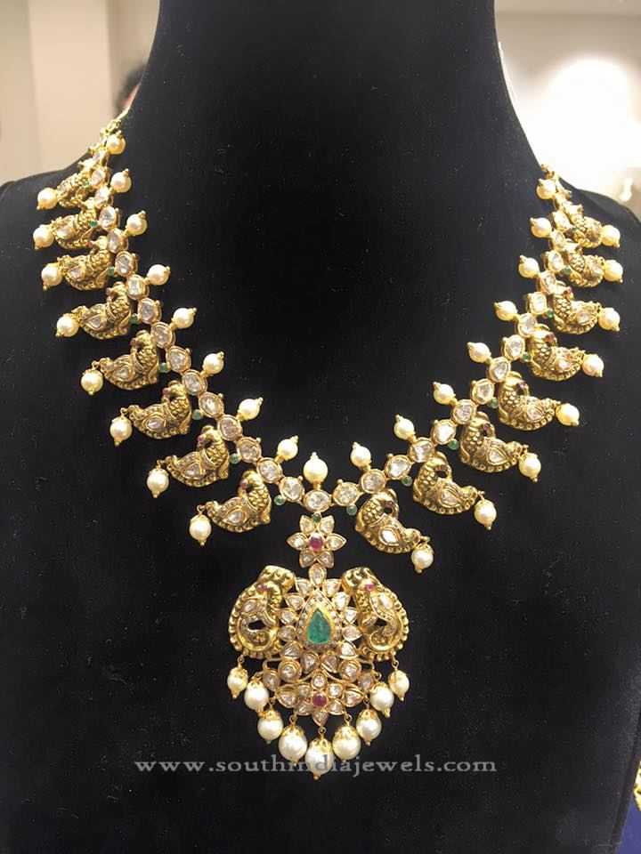 Gold Peacock Pachi Necklace with Pearls