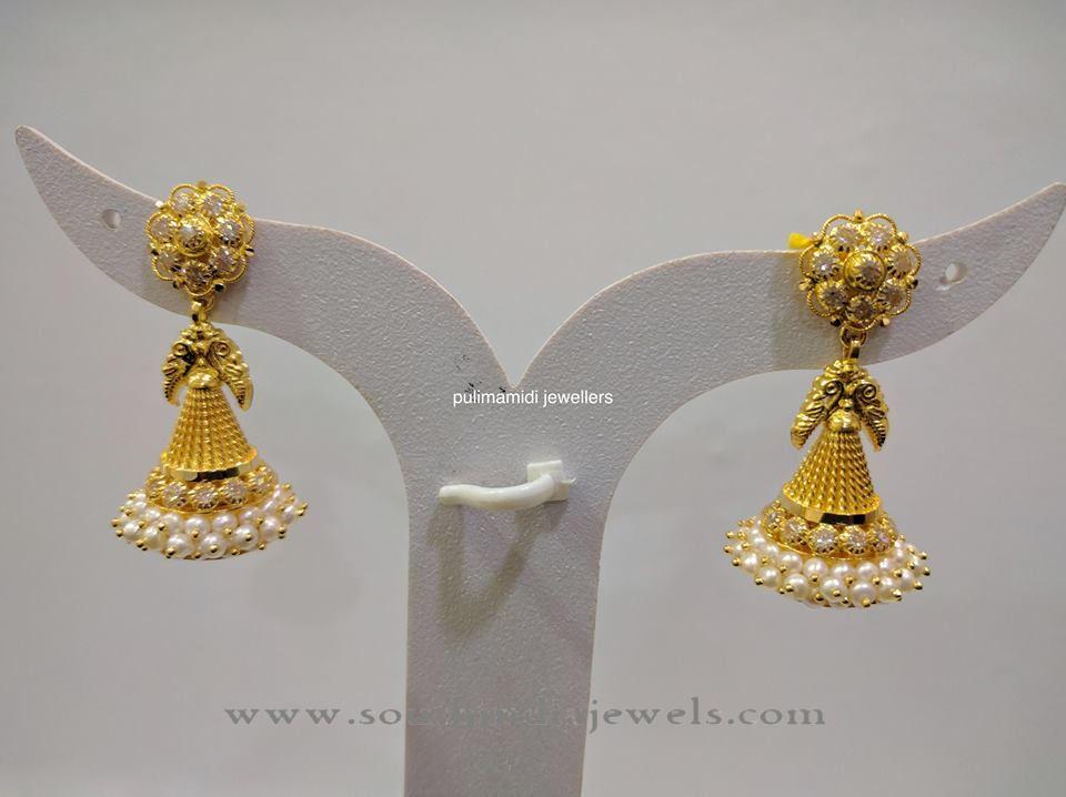 Gold Pearl Jhumka Design