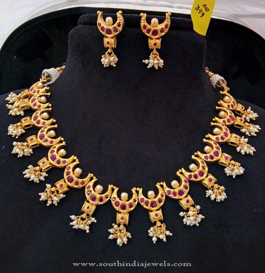 Gold Plated Ruby Pearl Necklace With Earrings South India Jewels