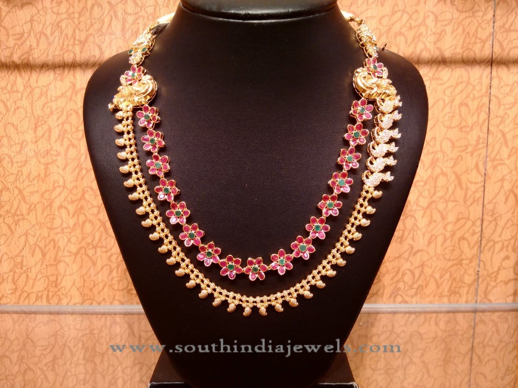 Gold Ruby Multi Layer Necklace with Side Locket