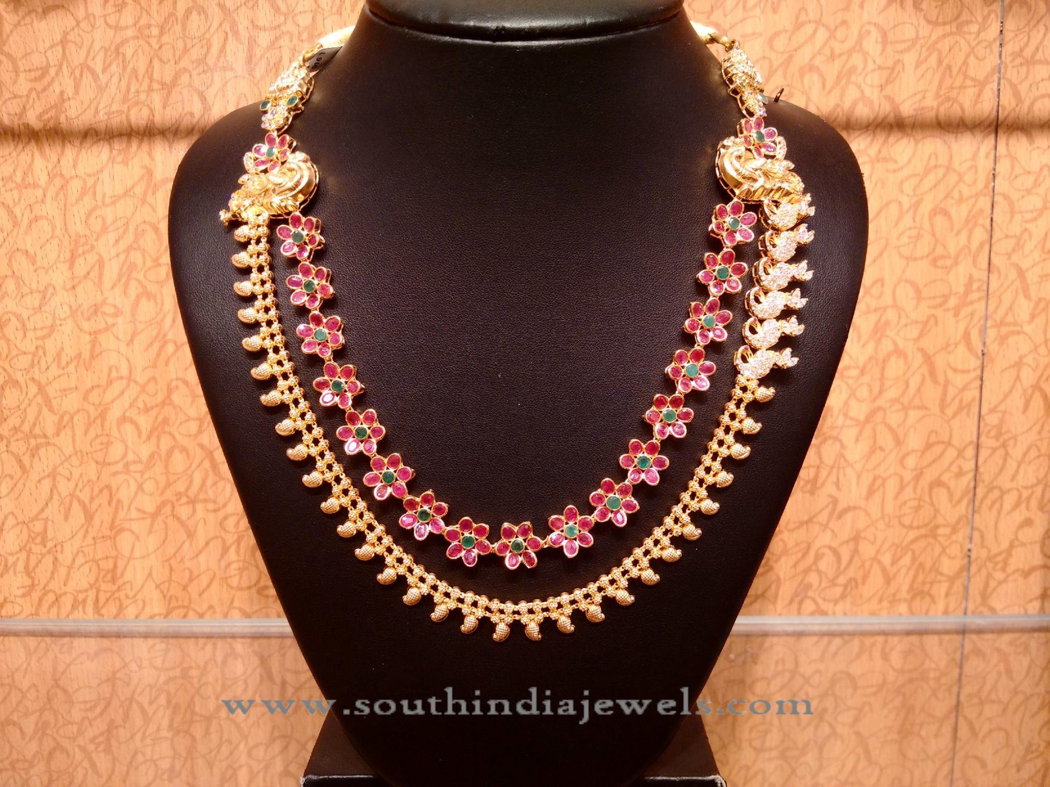 Greatest Gold Ruby Multi Layer Necklace with Side Locket ~ South India Jewels GZ52