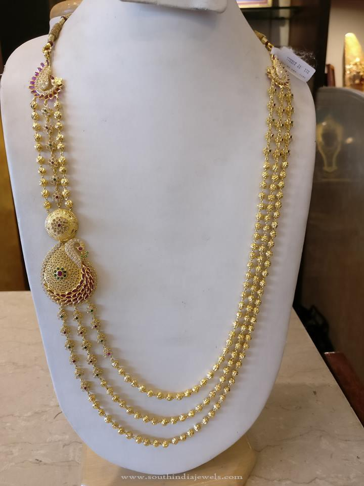 Multilayer Gold Haram with Peacock Side Locket from Manchukonda