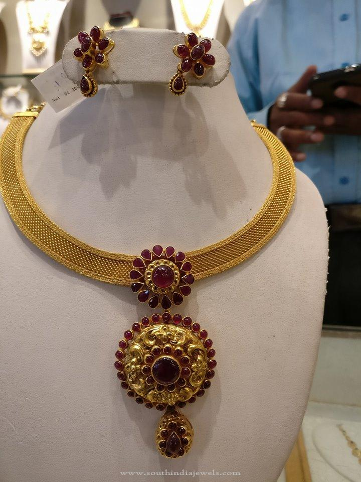 Simple Gold Ruby Attigai Style Necklace