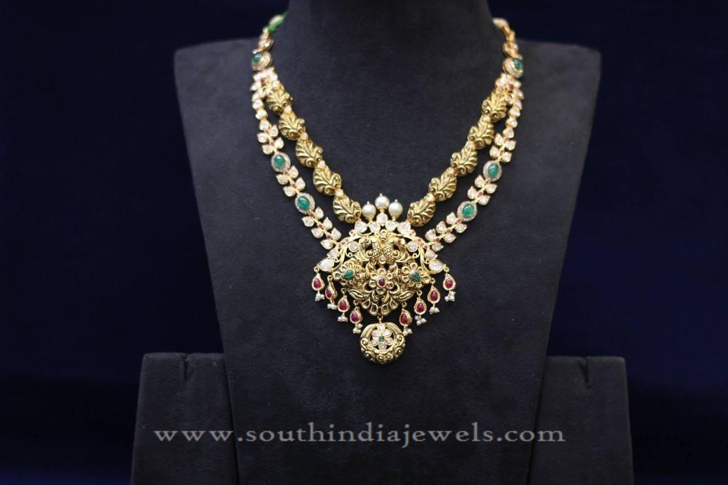 Two Layer Uncut Diamond Necklace Design