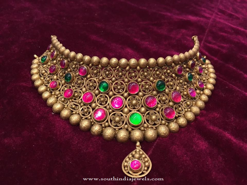 22K Gold Antique Heritage Choker Necklace