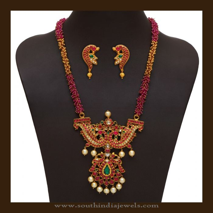 Beautiful 22K Gold Antique Ruby Haram Design