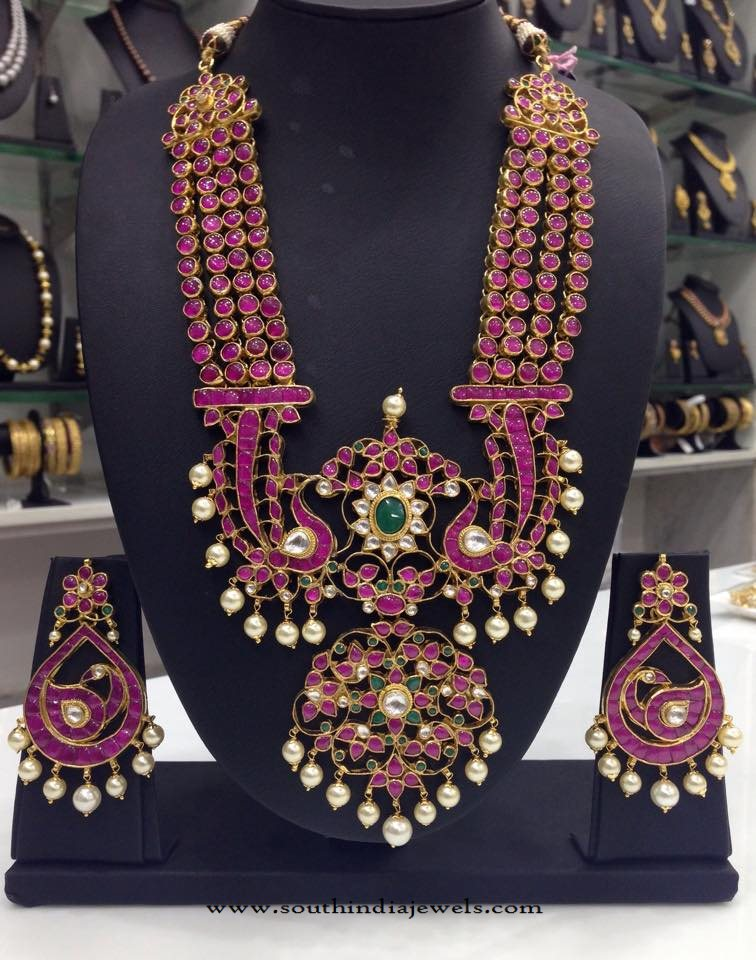 Gold Plated Grand Ruby Haram Set