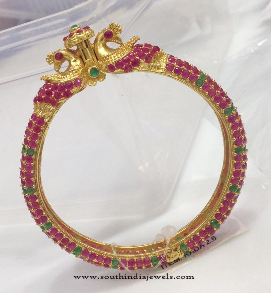 Gold Plated Ruby Kada Bangle
