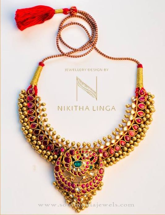 Gold Antique Hyderabad Style Necklace Design