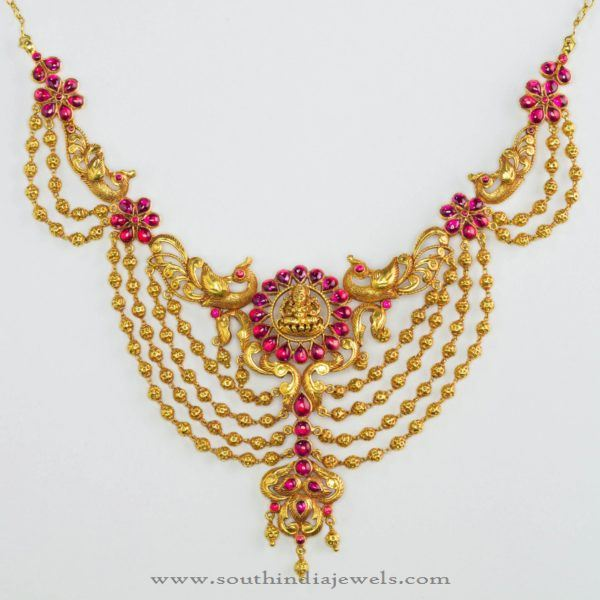 Gold Antique Necklae from Bhima Jewellers