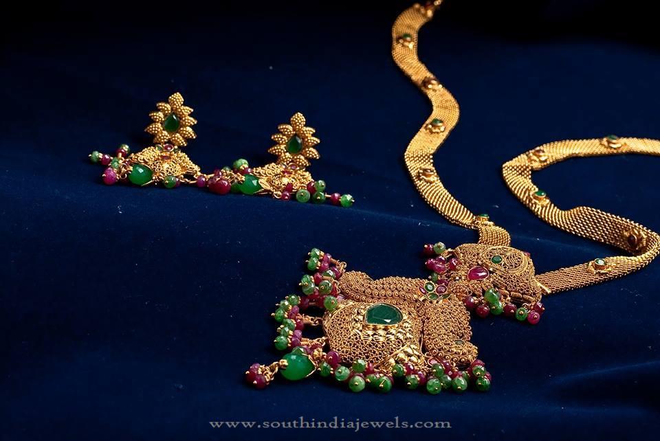 Gold Bridal Haram and Earrings
