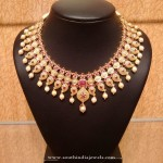 Gold Bridal Ruby Necklace Model