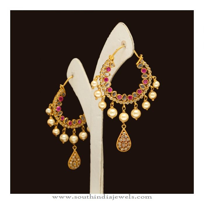 Gold Hoop Chandbali Earrings