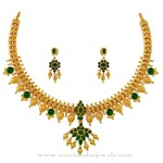 Gold Necklace with Green Stones