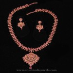22K Gold CZ Ruby Necklace Set
