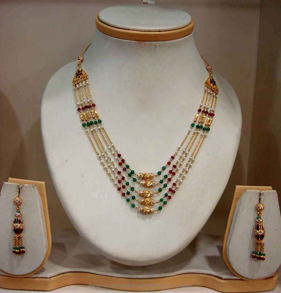 Multi Layer Gold Necklace with Earrings