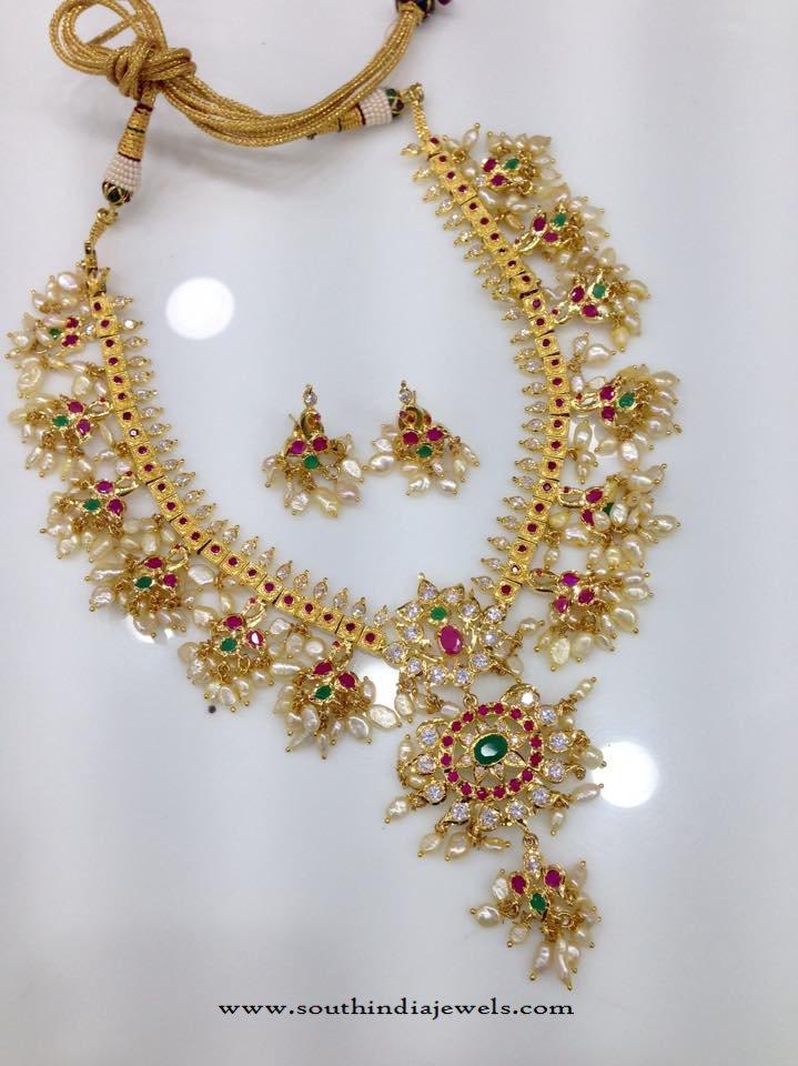 Stone & Pearls Studded Guttapusalu Necklace