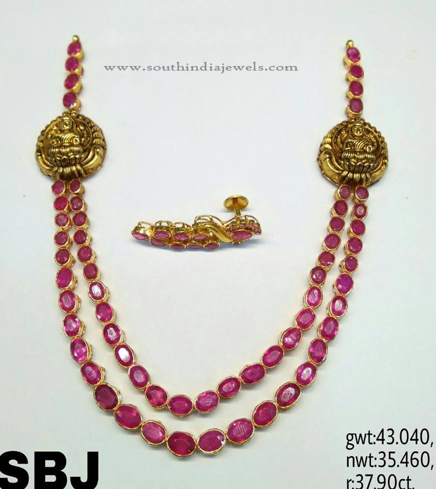 Two Layer Ruby Gold Necklace