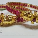 60 Grams Gold Ruby Kada Bangles