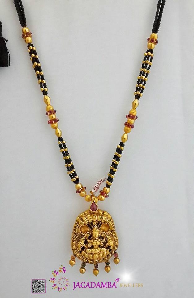 Antique Black Bead Temple Necklace